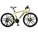Bicicletas de montaña para adultos Bicicletas de carrera de fondo Bicicletas para hombres y mujeres Bicicletas de 26 pulgadas y 21 velocidades Sistema de frenos de doble disco Amarillo de una rueda@A