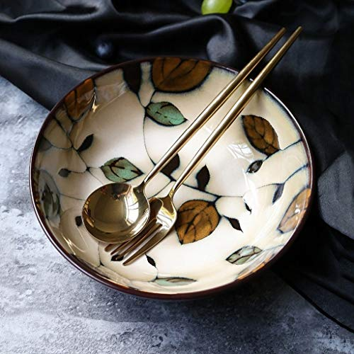 Gweat Estilo Japonés Creativo De La Vendimia Pintado A Mano De Cerámica Ensaladera Personalidad Ramen Profunda De Sopa Cuenco Cocina Placa Grande (Color : 1)