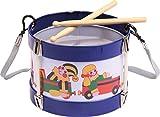 Bolz 52630 - Blechtrommel Spielkiste, Ø 17 cm, Kindertrommel aus Blech mit 2 Schlägel und Tragegurt, Instrument für Kinder ab 3 Jahre, Schlaginstrument , Musikinstrument, Trommel mit Spielzeug Motiv