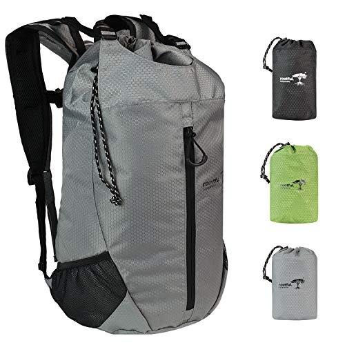 rootful. Companion Faltbarer Premium Rucksack 25L (neues Modell 2020) - Ultraleichter Rucksack für Outdoor, Reisen, Camping und Wandern - Tagesrucksack/Daypack (Grau)