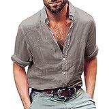 Herren Leinenhemd Langarm Freizeithemd Henley Shirts Oxford Button-Down Freizeit Business Regular Slim Fit Freizeithemden Hemden Tops Pullover Strand-Hemden(Grau, EU-52 / CN-XL)