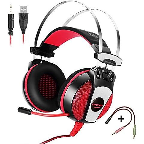 KOTION EACH Auriculares para jueguos con Microfono GS500 Profesional para Videojuegos 3.5mm PC Gaming Bass Stereo Headset Auriculares diadema con Microfono de aislamiento de ruido de respiración durante la oreja colorida luz LED para ordenador portatil(Negro+Rojo)