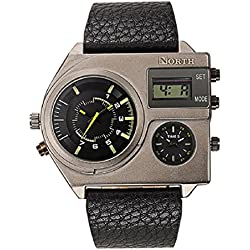 FEITONG North Watches Men Sports Leather Waterproof Quartz Pulse Male Watch Yellow