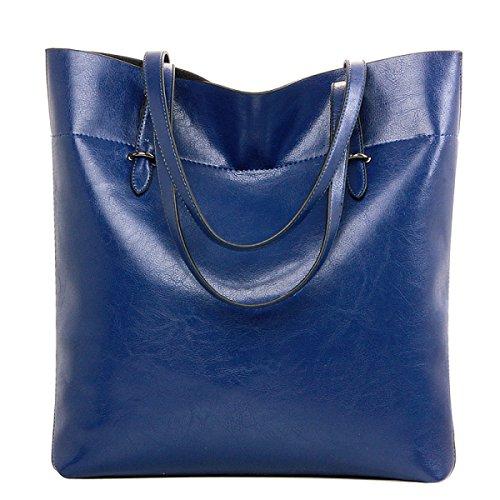 Dame Art Und Weise Große Kapazität Ölwachsleder Eimerbeutel Schulter Bewegliche Große Beutel Beiläufige Einkaufstasche Blue