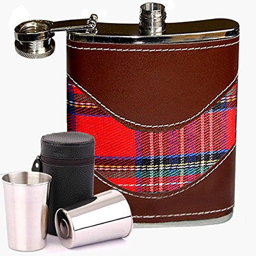 6oz Hip Nip Flask for your Scotch Dram Covered red Tartan and PU Leather Stainless Steel / Funnel & Shot Cups by VERISA