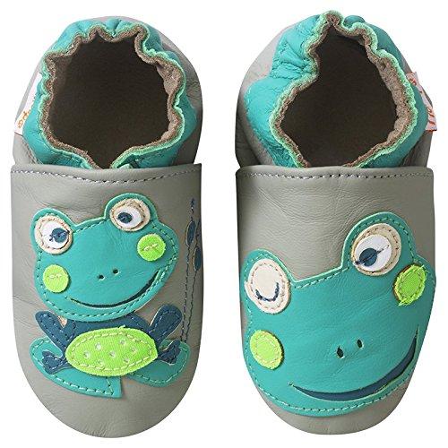 1aeef39354859 Tichoups chaussons bébé cuir souple patrick la grenouille