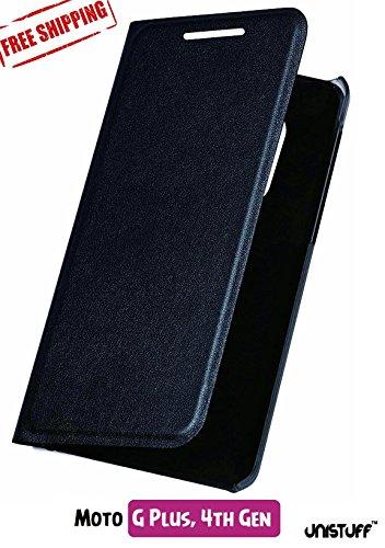 For Moto G Plus, 4th Gen – Unistuff™ Impact Resistant [1 Card Slot][Cash/Bills Slot][Anti-Slip Design][Drop Protection][Ultra Slim] Flip Cover for Moto G Plus, 4th Gen/ Moto G 4th Gen Plus/ Moto G4 Plus (Black)
