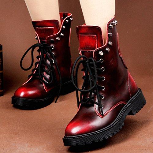 MatchLife Femme Rivet Dentelle Cuir Bottes Style1-Rouge