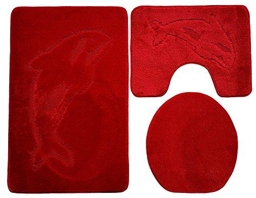 Baño de 3piezas (100x 60cm Rojo para el baño Delfín inodoro (Alfombrilla baño alfombra