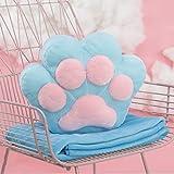 pillow Oreiller de griffe de chat mignon avec fonction de couette Combo de couverture de couchage au bureau à midi oreiller de taille corail voiture oreiller en molleton ( Color : Bleu )