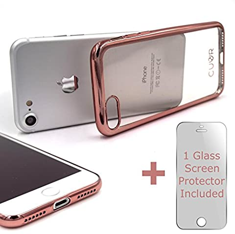 iPhone 7 Case Cover and Screen Protector Bundle by CUVR. Metallic Bumper with Transparent Back Cases for Apple iPhone 7 (Rose Gold)