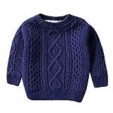 MRULIC Kinder Jungen und Mädchen Baumwolle Warme Pullover Plüsch Sweater Solide Gestrickte Kleidung Handgefertigt Jumper 1-10 Jahre(Marineblau,110-120cm)