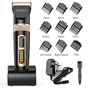 Hair Clippers,Romanda Clippers for Men Hair Trimmer Cordless Rechargeable Hair Clipper Electric Beard Trimmer with Ceramic Blade LCD Display,Charging Dock and 9 Combs for Men Kids and Family