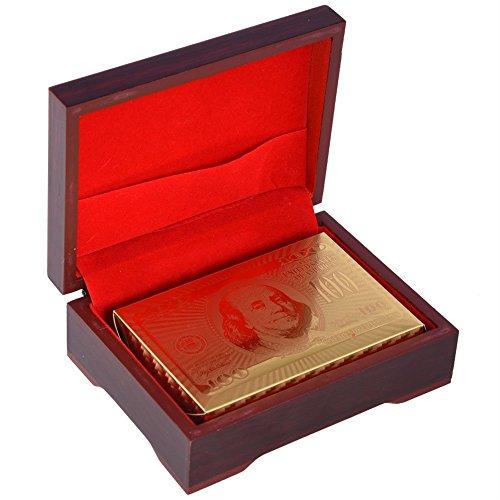 24K Vergoldete Spielkarten Goldfolie Pokerkarten Kartenspiel Poked Deck,24K Goldfolie Poker Luxus Spielkarten Karten Imprägniern Gefälschte Goldfolien-Spielkarten Plastikschürhaken Spiel Karten mit Bo (Einem Spiele Deck Von Karten Karte Mit)