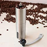 Pinkdose® Pinkdose Silver Coffee Grinder Mini Stainless Steel Hand Manual Handmade Coffee Bean Burr Grinders Mill Kitchen Tool Crocus Grinders