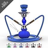 Narghilè 28cm 2 uscite Soria.Premium shisha. 2 tubi (6 colori) (blu)