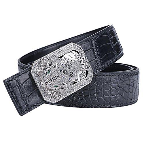Cinturón de cuero Piel de cocodrilo Hombre Sapo dorado Buena fortuna Cinturón de hebilla lisa Cinturón de hebilla para hombre de cuero nuevo negocio (Color : NEGRO, Tamaño : 105cm)