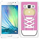 Funda carcasa para Samsung Galaxy A5 diseño zapatilla cordones color rosa borde blanco