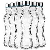 My-goodbuy24 6tlg. Glasflasche Set Trinkflasche Wasserflasche mit Edelstahldeckel - Ideal für Getränke wie Smoothies, Wasser, Säfte, Tee, Milch usw. - Luftdicht/tropfsicher 500ml/H: 25cm