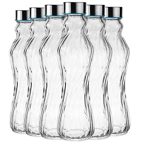6tlg. Glasflasche Set Trinkflasche Wasserflasche mit Edelstahldeckel - Ideal für Getränke wie Smoothies, Wasser, Säfte , Tee, Milch usw. - Luftdicht / tropfsicher 500ml / H: 25cm (Glas Milch Flaschen Zu Trinken)