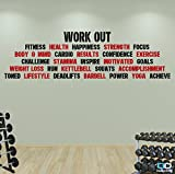 Conjunto de palabras motivadoras para hacer ejercicio, adhesivos de pared para el gimnasio de la mejor calidad, rojo & negro, 2mtrs x 57cm