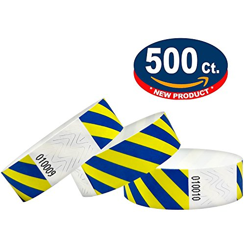 500 pezzi - 19 mm 3/4' Tyvek Wristbands, Tyvek Braccialetti, Tyvek Bracciali, Festival Braccialetti, Night-Club Braccialetti (Blue-Yellow, 500 Pack)