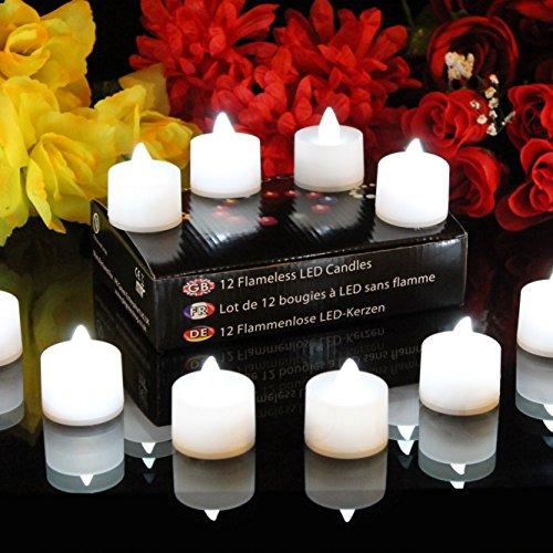 12 Lumini LED Bianchi - Candele a Batteria senza Fiamma con Fiamma Tremolante per Matrimonio, Compleanno di PK Green