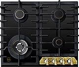 Kaiser Empire KCG 6335 Em Gas Kochfeld 60cm Autark NEUHEIT/Gaskochfeld/Luxus Herstellers Kaiser/Gas auf Schwarzem Glas/Glaskeramik Gaskochfeld Einbau/4 Hochwertige Brenner/Metallrahmen Bronze/ Brennersockel – Gold/ 3,8 kW Wok Brenner mit Adapter aus Gußeisen/Facette vorne/Gaskocher/Kochmulde/Erdgas und Propangas/UVP 980 EUR