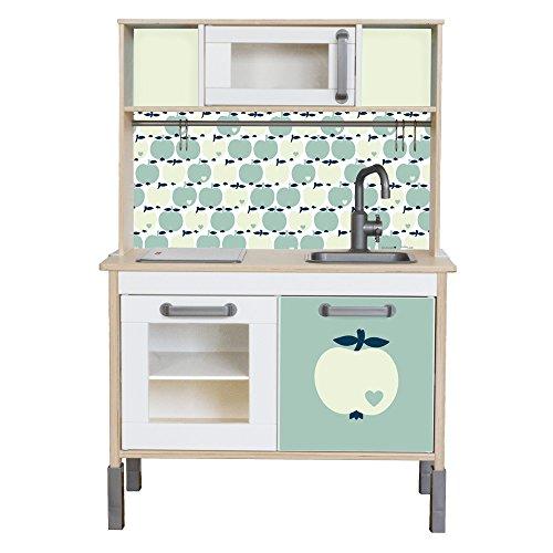 Limmaland Sticker byGraziela Apfel passend für Deine IKEA Kinderküche DUKTIG (Farbe Mint) - Möbel Nicht inklusive