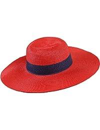 Fengbingl Sombrero de Paja Sombrero de Sol de ala Grande Sombrero de  Vacaciones en la Playa para Mujeres Picnics… fbb57306a91