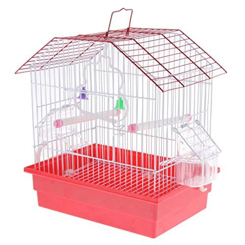 perfk Vogelkäfig Vogelbauer Vogelhaus Papageienkäfig Wellensittichkäfig Kanarienkäfig mit Sitzstange, Schaukel und Futternapf, 28x20x30cm