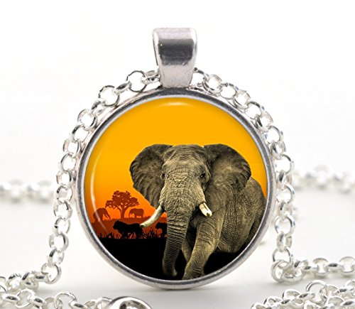 elephant-necklace-pendant-silver-african-savanna-sunset-animal-jewelry-wildlife-gift-for-her