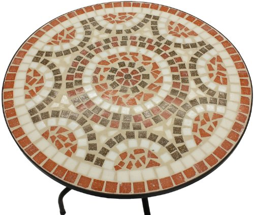 Woodside Terracotta Mosaic Garden Table And Folding Chair Set Outdoor Dining Furniture