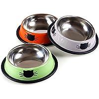 Lavabo de comida para gatos antideslizante de acero inoxidable Tazón de fuente Utensilios para gatos Cuenca