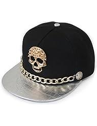 Casquette Snapback réglable casquette de baseball hip-hop Punk Rock Style, crâne, croco argenté
