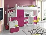 Furnistad Kinderzimmer Komplett Sky | Kinder Hochbett mit Treppe, Schreibtisch und Schrank (Option links, Weiß + Rosa)