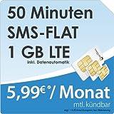 DeutschlandSIM LTE Mini SMS 1 GB [SIM, Micro-SIM und Nano-SIM] monatlich kündbar (1 GB LTE-Internet mit max. 50 MBit/s + Datenautomatik, 50 Minuten, SMS-Flat, 5,99 Euro/Monat) O2-Netz