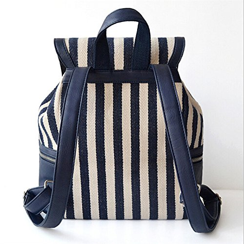 BYD - Blue Male Female zainetto backpack Bag School Bag Travel Bag PU Leather Bottom Blu