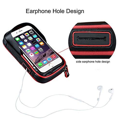 PINKAH 360°Rotation, Fahrrad Wasserdichte Lenkertaschen für Mobiltelefon 6,0 Zoll oder unten Schwarz/Rot