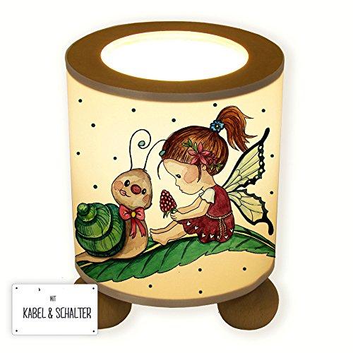 ilka parey wandtattoo-welt® Lampe Tischlampe Nachttischlampe Kinderlampe Schlummerlampe Fee Elfe mit Himbeere Schnecke und Punkten tl071