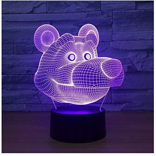 Schlafzimmer Dekor Atmosphäre 3D Big Bear Kopf Modellierung Babyzimmer Nachtlicht 7 Farbwechsel Schwarzer Bär Schreibtischlampe Baby Schlaf Beleuchtung Geschenke Licht Box -