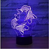 Iluminación Peces 3D Luz nocturna Nocturna creativa Siete colores Touch Usb Lámparas de luz 3D Encantadora Lámpara de cambio de color 3D