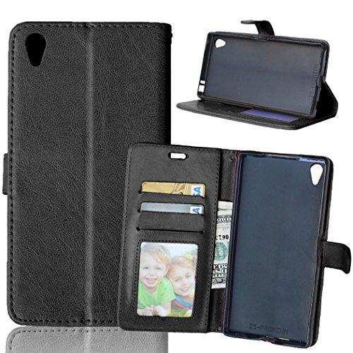 Nancen Compatible with Handyhülle Sony Xperia Z5 Premium / Z5 Plus Lederhülle Style Acht Farbe Weich PU Flip Case Ledertasche/Schutz Etui, Karten Slot Foto Wallet Hülle