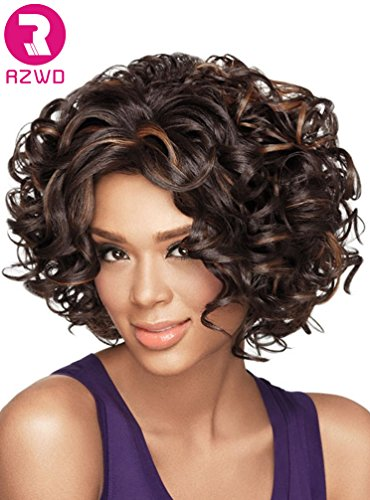 RZWD Beauty Smooth Hair Sexy Short Kanekalon Mixed Color Curly Hair Wig for Women-Light Brown with Dark Brown ST22A