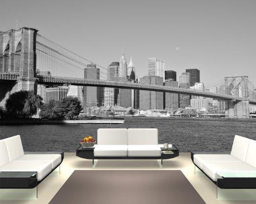 Bilderdepot24 Papier Peint intissé Pont New York 155x100 cm - pâte Inclus - Vente directe Fabricant!