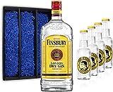 Gin Tonic Geschenkset - Finsbury London Dry Gin 70cl (37,5% Vol) + 4x Thomas Henry Tonic Water 200ml + Geschenkverpackung