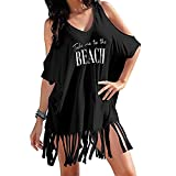 Ywoow Women's Tassel Letters Print Baggy Swimwear Bikini Cover Ups Beach Dress