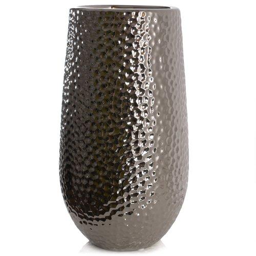 Kaheku Vase CORO, Keramik, silber glasiert (H30 cm)