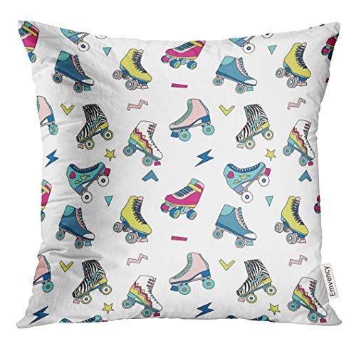 Throw Pillow Cover Colorful Rollerskate with Cute Retro Roller Skates Derby Vintage Decorative Pillow Case Home Decor Square 18x18 inches Pillowcase (Vintage Roller Derby Skates)