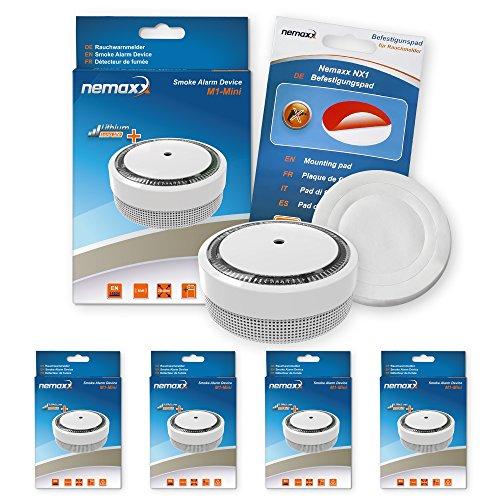 Nemaxx 4x Rauchmelder M1-Mini - Sensibler Photoelektrischer Rauchwarnmelder - mit Lithiumbatterie...